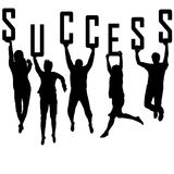 Success concept with young team silhouettes Stock Image
