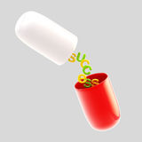 Success conception: pill with a letters inside Stock Photos