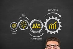 Free Success Concepts Over Human Head On Blackboard Background Royalty Free Stock Photography - 183590197