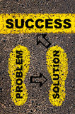 Success. Conceptual image. With yellow paint footsteps on the road in front of horizontal line over asphalt stone background Royalty Free Stock Image