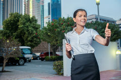 Success. Confident businesswoman standing on a street in formal Stock Photo