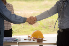 Success and cooperation in construction work. Royalty Free Stock Photos