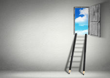 Success creative concept, stairs from pencils to sky Stock Images