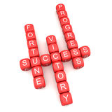 Success Crossword. 3d image of success, fortune, victory, progress crossword Royalty Free Stock Photos