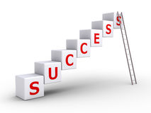 Success cubes and a ladder Stock Photo