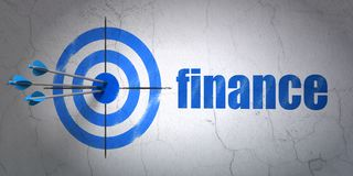 Currency concept: target and Finance on wall background. Success currency concept: arrows hitting the center of target, Blue Finance on wall background, 3D Stock Images