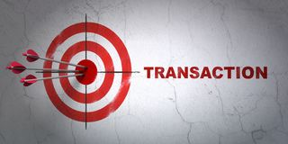 Currency concept: target and Transaction on wall background. Success currency concept: arrows hitting the center of target, Red Transaction on wall background Royalty Free Stock Photography