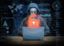 Success cyborg hacker. 3d rendering keypad unlock with success cyborg hacker Royalty Free Stock Image