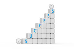 Success - 3d abstract composition. Stair from cubes with text success and ball shape smiley Royalty Free Stock Image