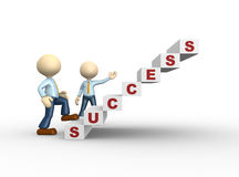 Success. 3d people - man, person climbs the ladder of success Stock Images