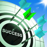 Success On Dartboard Showing Accomplished Progress Royalty Free Stock Images