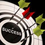 Success On Dartboard Shows Successful Goals Stock Photography