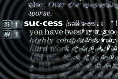 Success definition in close-up Royalty Free Stock Photo