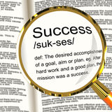 Success Definition Magnifier Showing Achievements Royalty Free Stock Photography