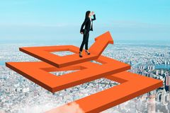 Success and development concept. Businesswoman in sky on abstract maze arrow. Success and development concept. 3D Rendering vector illustration