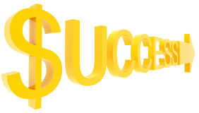 Success direction. Yellow signs on white background Stock Photo