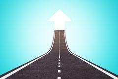 Success and direction concept. Abstract road with arrow on blue background. Success and direction concept. 3D Rendering royalty free illustration