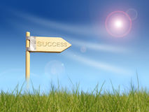 Success direction sign under sun Royalty Free Stock Photos
