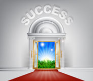 Success Door Concept. An illustration of a posh looking door with red carpet and Success above it. Concept for door to success Stock Photography