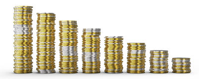 Success or drop: golden and silver coins. Stacks over white Royalty Free Stock Image