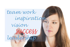 Success dynamics written by business woman Stock Photography