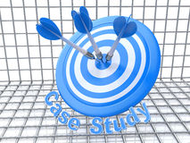 Success Education concept: arrows hitting the center of target,. Blue Case Study, 3d render in the design of information related to business Royalty Free Stock Photos