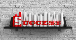 Success. Education Concept. Success - Red Inscription on the Books on Shelf on the White Brick Wall Background. Education Concept stock illustration