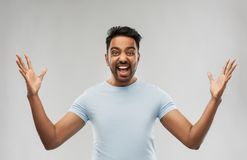 Indian man celebrating victory stock image