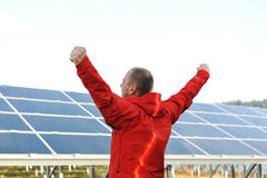 Success, engineer in solar panel fields Royalty Free Stock Photo