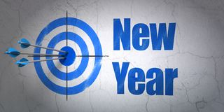 Entertainment, concept: target and New Year on wall background. Success entertainment, concept: arrows hitting the center of target, Blue New Year on wall royalty free illustration