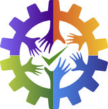 Success factory friend logo. Illustration art of a success factory friend logo with isolated background royalty free illustration