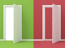 Success of Fail. Two rendered doors, green one is open, red one is closed Royalty Free Stock Photos