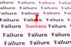 Success and fail. Writing on paper Royalty Free Stock Photo