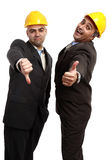 Success and fail. Businessmen with one thumb up and one down Stock Photography