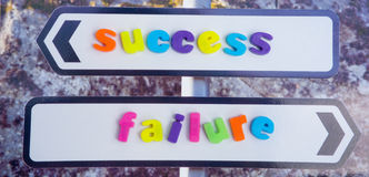 Success or failure. An image of a sign post with arrows pointing in opposite directions to success and to failure. The words are in colorful lower case text Stock Photo