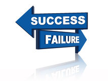Success failure. 3d blue oposite arrows with text Royalty Free Stock Images