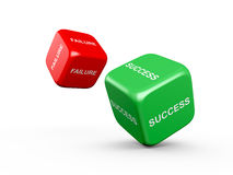 Success and Failure. Red and green dices with success and failure text on isolated white background Royalty Free Stock Image