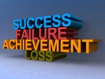 Success, failure, achievement and loss illustration. 3D block letters spelling success, failure, achievement and loss on purple Stock Image