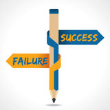 Success & Failure arrow in opposite directions of. Pencil vector Stock Images