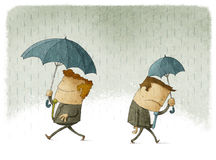 Success and failure in business. Men with big and small umbrellas, a symbol of their success and failure in business Royalty Free Stock Image