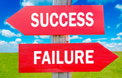 Success or Failure. Choice showing strategy change or dilemmas Stock Images