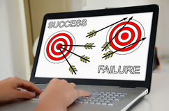 Success and failure concept on a laptop screen Royalty Free Stock Photography