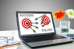 Success and failure concept on a laptop screen Royalty Free Stock Image