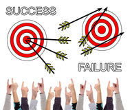 Success and failure concept pointed by several fingers Stock Images