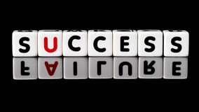 Success Failure Concept. Success spelled in dice letters with failure reflecting below. Isolated on black background Royalty Free Stock Photo