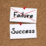 Success Failure. Failure crossed, Success note pinned on cork noticeboard Royalty Free Stock Image