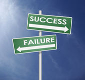 Success and failure direction in blue sky Stock Images