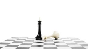Success and failure. Fallen chess king near another one Royalty Free Stock Photo