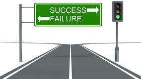 Success and Failure Road Sign. Green traffic light Stock Photo