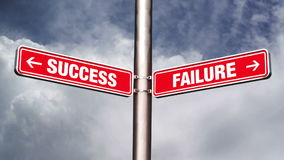 Success of failure road sign pointing to opposite directions. Royalty Free Stock Image